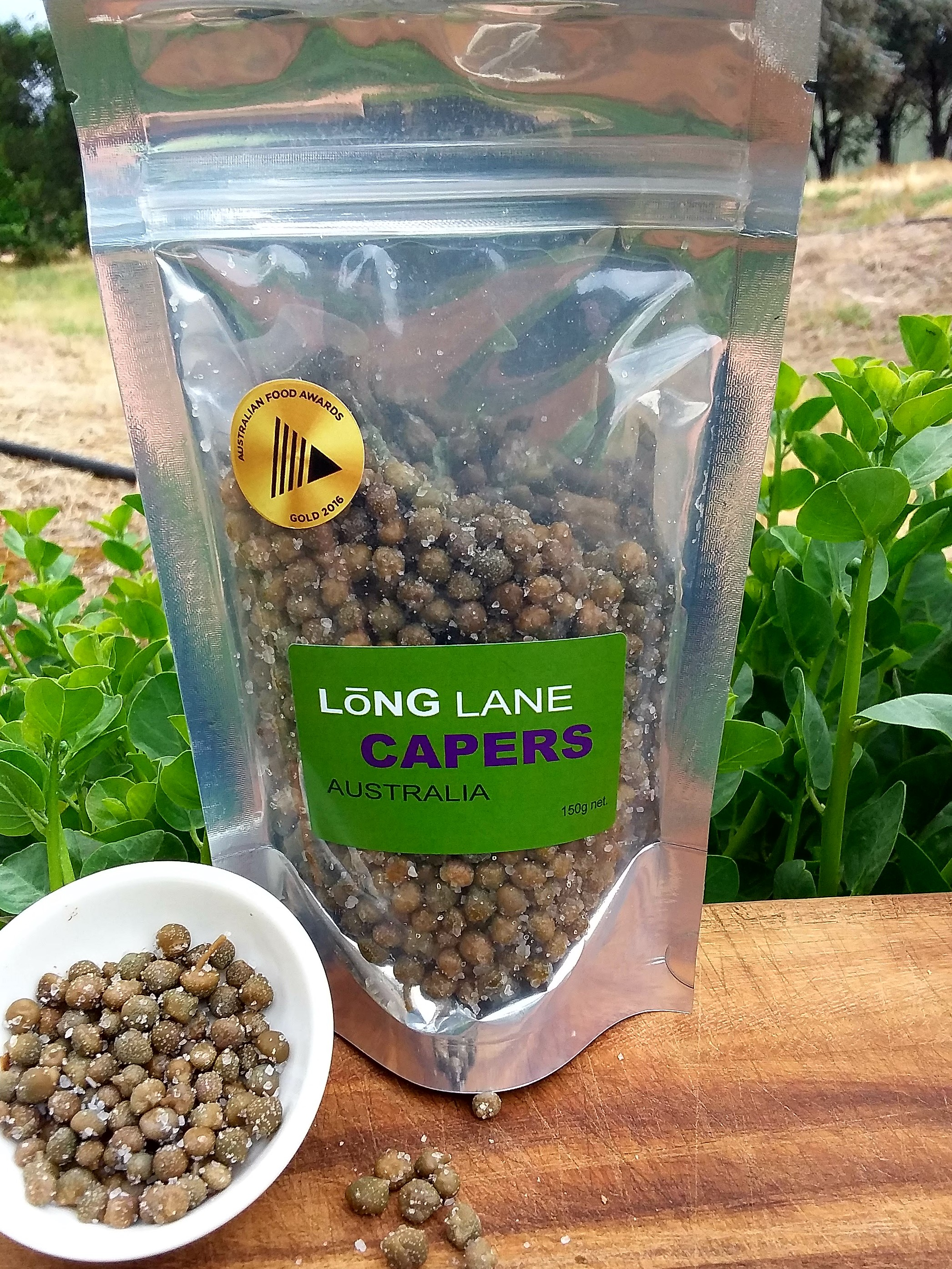 150g resealable pouch long lane capers